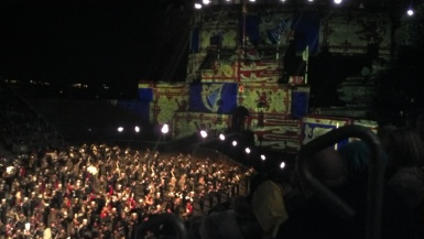 Iterations of the Scottish flag projected onto Edinburgh Castle