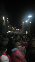 The crowds leaving the Tattoo.