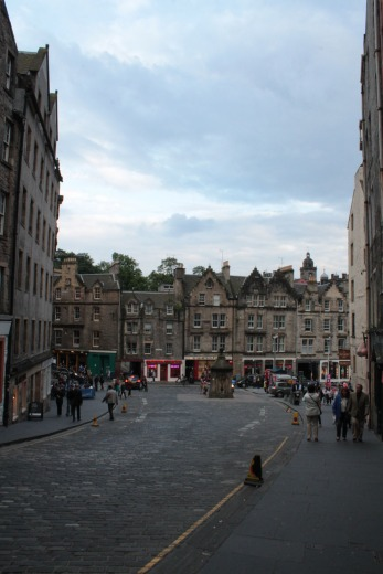 Looking down onto one entrance to Grassmarket